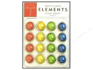 American Crafts Elements Brads Large Pearl Primary 16pc