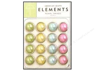 American Crafts Elements Brads Large Pearl Pastels 16pc