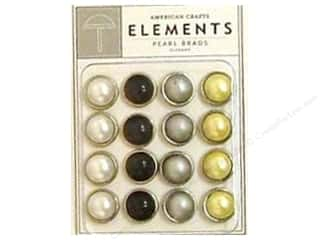 American Crafts Elements Brads 11 mm Large Pearl 16 pc Elegant