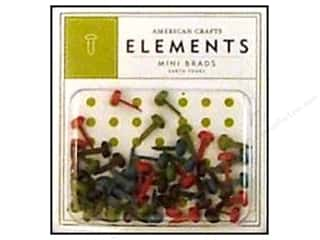 American Crafts Elements Brads Mini Earth Tones 48pc