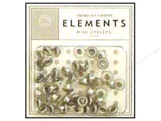 American Crafts Eyelets Elements Mini 48pc Silver