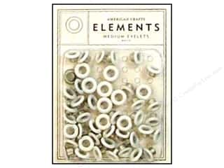 American Crafts Eyelets Elements Med 48pc White
