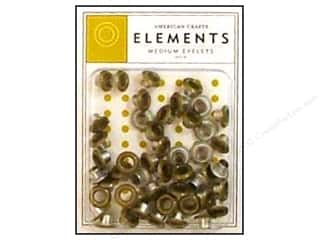 American Crafts Eyelets Elements Med 48pc Gold