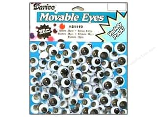 Darice Eyes Paste On Moveable Astd Black 200pc