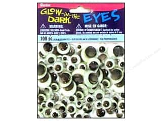 Darice Eyes Paste On Moveable Astd Glow/Drk 100pc