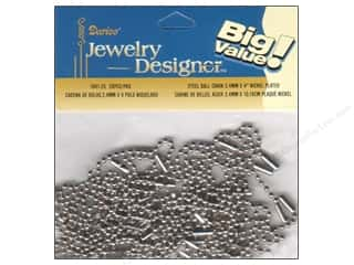 "jewelry chains: Darice JD Chain Ball 2.4mmx 4"" Nickel 28pc"