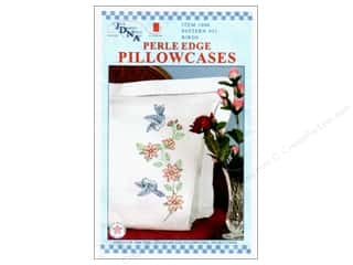 Clearance Blumenthal Favorite Findings: Jack Dempsey Pillowcase Perle Edge White Birds