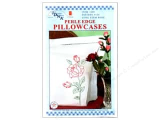 Stamped Goods Pink: Jack Dempsey Pillowcase Perle Edge White Long Stemmed Rose
