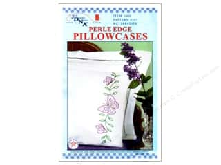 Floss Spring: Jack Dempsey Pillowcase Perle Edge White Circle Butterflies