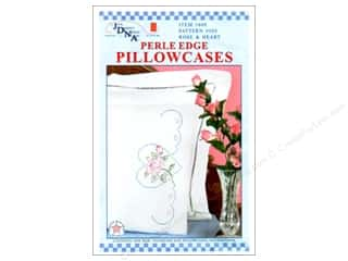 Pillow Shams: Jack Dempsey Pillowcase Perle Edge White Rose & Heart