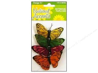 Clearance Blumenthal Favorite Findings: FloraCraft Natural Accents Butterfly 2.5 in. 4 piece