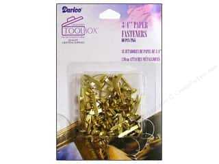 "Office Back To School: Darice Office Tool Box Paper Fastener 3/4"" Gold 60pc"