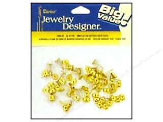 Beading & Jewelry Making Supplies Findings: Darice Jewelry Designer Earring Post 6mm Flat & Nut Gold 36pc