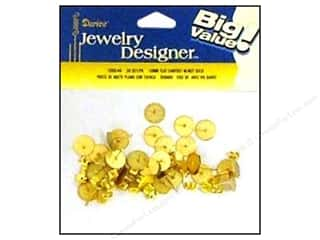 Darice JD Earring Post 10mm Flat &amp; Nut Gold 30pc