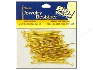 "Darice JD Eye Pins 2"" Gold Plate Brass 60pc"