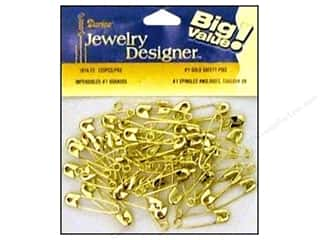 jewelry safety pin: Darice JD Safety Pins #1 Gold 120pc