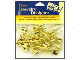 "Coiless: Darice JD Safety Pins Coiless 2 1/4"" Gold 50pc"