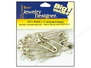 "Beading & Jewelry Making Supplies $1 - $2: Darice Jewelry Designer Safety Pins Coiless 2 1/4"" Nickel 50pc"