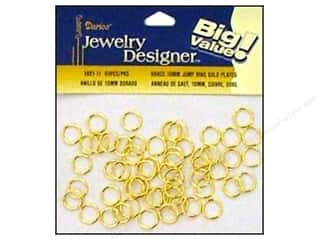 Jump Rings / Spring Rings: Darice Jewelry Designer Jump Rings 10mm Gold Plate Brass 60pc