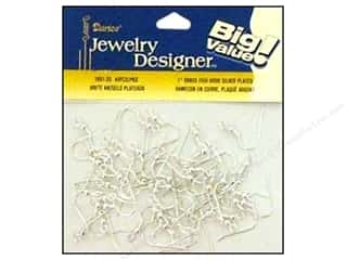 "Earrings Beading & Jewelry Making Supplies: Darice Jewelry Designer Earring Fish Hook 1"" Brass/Silver 48pc"