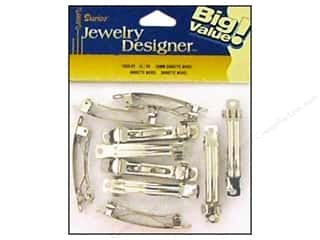 "Hair: Darice Jewelry Designer Hair Accessory Barrette 2"" 50mm Nickel 18pc"