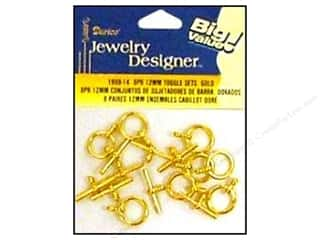 Clasps: Darice Jewelry Designer Clasps Toggle Set 12mm Gold 8pc