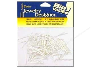 "Darice JD Head Pins 1"" Silver 180pc"