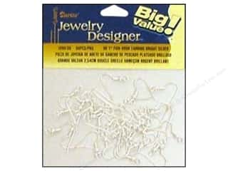 "Earrings Beading & Jewelry Making Supplies: Darice Jewelry Designer Earring Fish Hook 1"" Bright Silver 60pc"