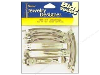 Hair: Darice Jewelry Designer Hair Accessory Barrette 3.25 80mm Nickel 12pc