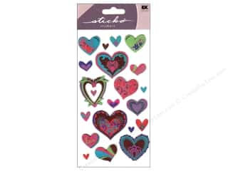 EK Sticko Stickers Metallic New Style Hearts