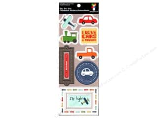 Imaginisce Sticker Lets Roll Chipboard Go, Go, Go!