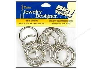 Jump Rings / Spring Rings: Darice Jewelry Designer Split Ring 32mm Nickel Plate Steel 30pc