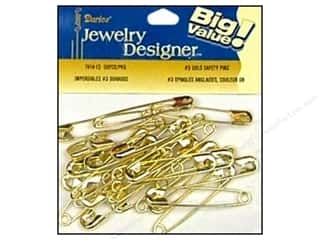 darice safety pin: Darice Jewelry Designer Safety Pins #3 Gold 50pc