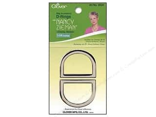 "Purse Making Clover Rings: Clover Zieman Bag D Ring 1 1/4"" Glossy Nickel 2pc"