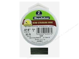 beadalon steel wire: Beadalon Bead Wire 7 Strand .015 in. Black 30 ft.