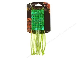 Blue Moon Pendant RB Glass Bead Rect Fringe Green