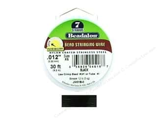 beadalon steel wire: Beadalon Bead Wire 7 Strand .012 in. Black 30 ft.