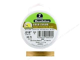 "7"" wire: Beadalon Bead Wire 7 Strand .018 in. Gold 30 ft."