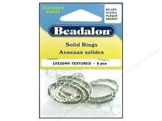Beadalon Jump Rings/Spring Rings: Beadalon Solid Rings 17 x 30 mm Textured Silver 6 pc.