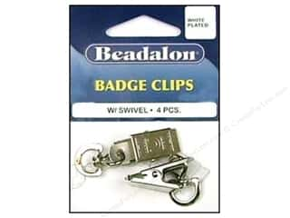 Beadalon scrimp: Beadalon Badge Clips with Swivel White Plated 4 pc.