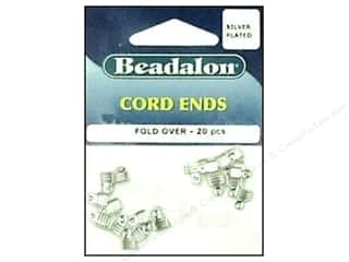 Pliers split ring: Beadalon Cord Ends Fold Over Silver Plated 20 pc.
