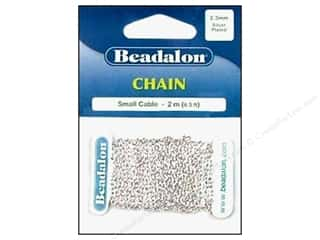 Chains inches: Beadalon Small Cable Chain 2.3 mm (.091 in.) Silver Plated 2 m (6.56 ft.)