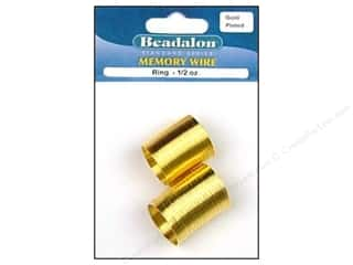 Beadalon Plated Steel Memory Wire Ring Gold .5 oz.