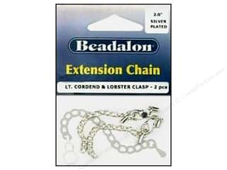 Beadalon Rubber Tubing: Beadalon Extension Chain 1.9 mm Silver Plated 2 pc.