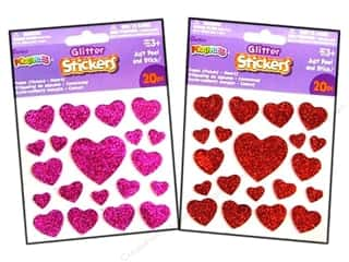 Kid Crafts Darice Foamies: Darice Foamies Sticker Glitter Hearts Red/Pink