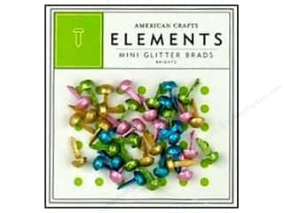 American Crafts Elements Brads Mini Glitter Brights 40pc