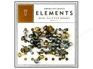 American Crafts Elements Brads 5 mm Mini Glitter 40 pc Metallic