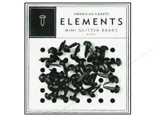 American Crafts Elements Brads Mini Glitter Black 40pc