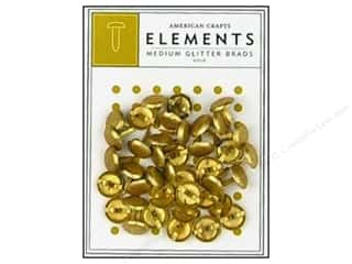 American Crafts Elements Brads Medium Glitter Gold 40pc