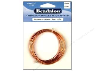 beadalon copper wire: Beadalon German Style Wire 20ga Round Copper 19.7 ft.